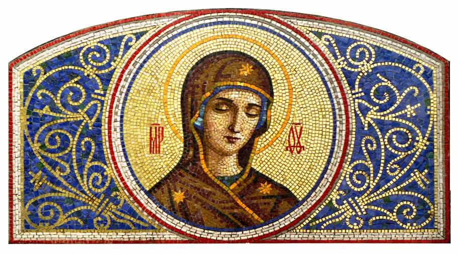 Икона из мозаики Богородица. Деисусный чин. Харцызск. Донецкая область