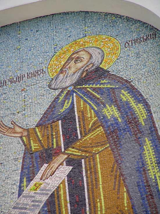 """Панно из мозаики """"Явление Божией Матери на горе Почаевской"""" (фрагмент)"""